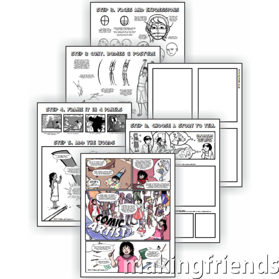 Comic Artist Download. Grab a pencil and print the Comic Artist Download from MakingFriends®.com. That's all you'll need to complete all five requirements for the fun Cadette Comic Artist badge. Fun for independent Girl Scouts (Juliettes) or to work on at a troop meeting. #makingfriends #scoutingfromhome #cadettegirlscouts via @gsleader411