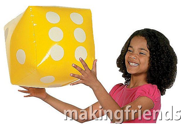 """Giant 12"""" dice for extra fun. Assorted colors. $3.99 each. For girls earning the Junior Customer Insights and Junior Detective badges. #makingfriends #dice #inflatabledicegame #girlscouts #gsgames #girlscoutbadges via @gsleader411"""