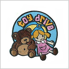 Toy Drive Patch.  This is the perfect patch for Toys for Tots or any other toy drive your troop participates in.  The Toy Drive Patch is available at MakingFriends®.com. via @gsleader411