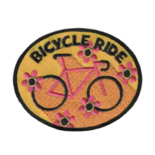 Bicycle Ride Patch from MakingFriends®.com. Help your girls practice healthy habits by going for a bike ride. Host a bicycle safety event for your troop or service unit. Find a local park with a biking trail for the troop to take a scenic ride. #makingfriends #scoutpatches #girlscouts #scouts #juliettescouts via @gsleader411