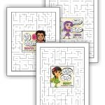 Superhero Girl Scout Law Maze Pages