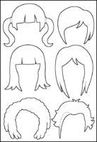 Superhero Paper Dolls Hair Outline