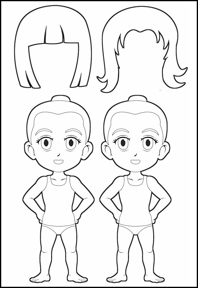 graphic relating to Printable Paper Doll Body called Superhero Paper Dolls Overall body with Hair Define - MakingFriends