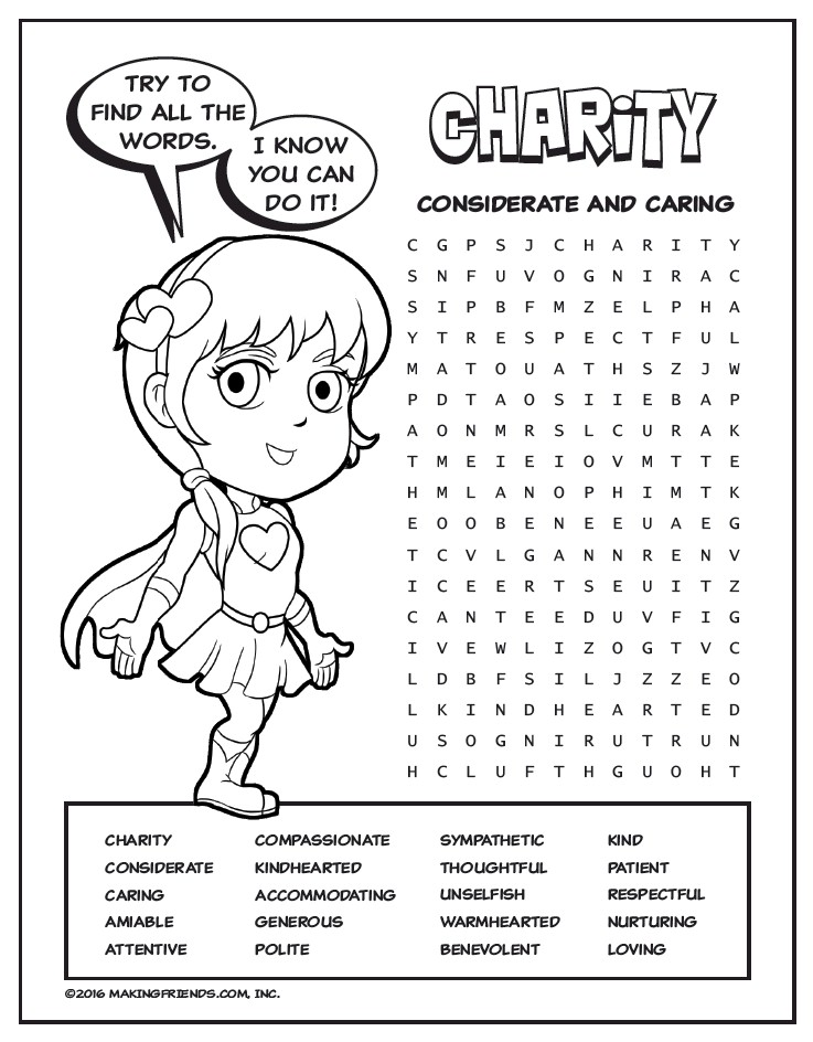 Light Green Petal Superhero Word Search Charity