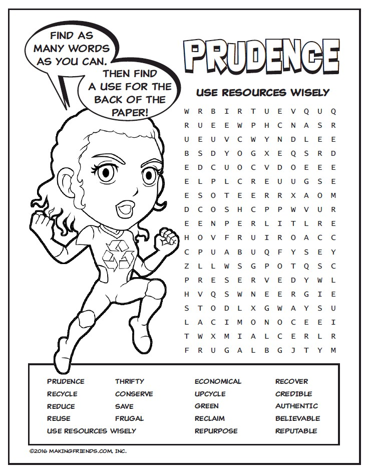 Daisy Green Petal Superhero Word Search : Prudence ...