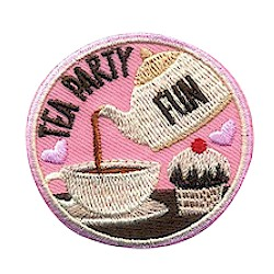 Tea Party Patch from MakingFriends®.com. Perfect for your Tea Party event. #makingfriends #scoutpatches #girlscouts #scouts via @gsleader411