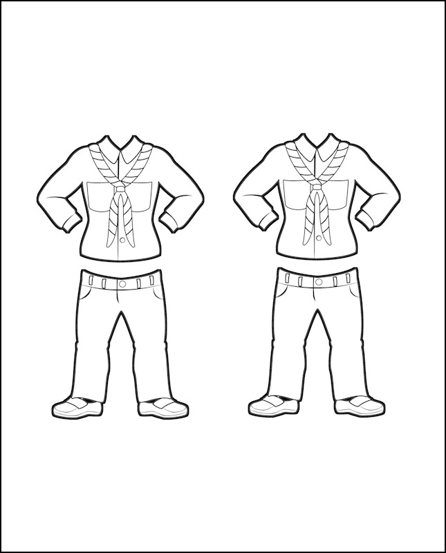 Superhero Delilah's Girl Guide Uniform for France Outline
