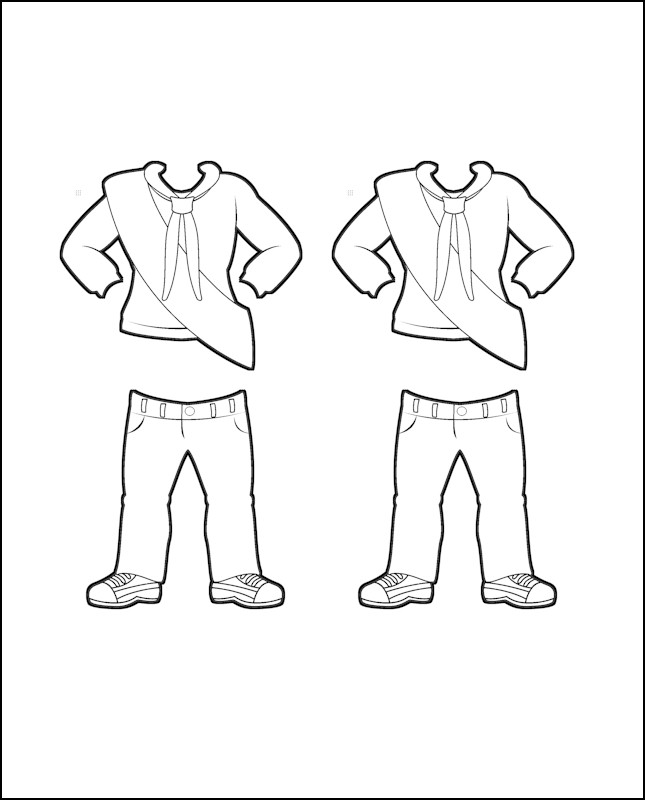 Superhero Justice's Girl Guide Uniform for Ireland Outline