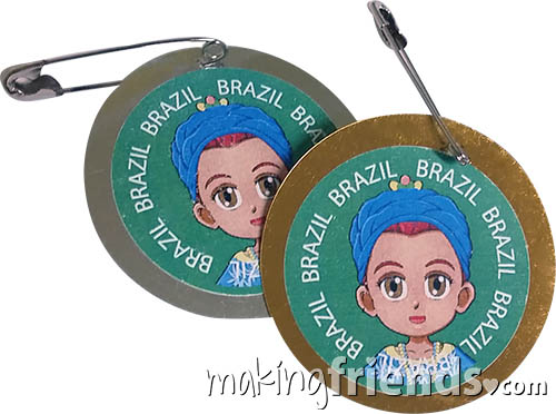 Brazil International Costume Friendship Swap Kit. Superhero Prudence wears traditional clothes from Brazil for these international crafts for swapping. Economical to make. No scissors or glue needed. Fun and easy too. Kit makes 24 and is available at MakingFriends®.com. Find information about Brazil as well as patches, crafts, passports and more for your international event on our page Brazil | Ideas for Thinking Day*. #thinkingday #swaps #makingfriends #scouts via @gsleader411