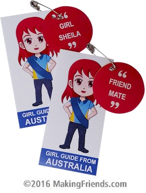 Australia International Friendship Swap Kit: Learn Australian Slang. Superhero Freedom wears a Girl Guide uniform from Australia for these Thinking Day swaps. Learn 30 different Australian slang words while you make your SWAPs for your International celebration. Kit makes 30 and is available at MakingFriends.com. Find a information about Australia as well as patches, crafts and more for your international event on our page Australia | Ideas for Thinking Day*. via @gsleader411