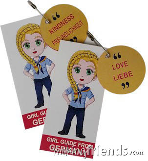 Germany International Friendship Swap Kit: Learn German. Superhero Willow wears a Girl Guide uniform from Germany for these World Thinking Day* crafts. Learn 30 different German words while you make your crafts for swapping. No scissors or glue needed. Kit makes 30, More fun ideas for your Germany booth on our page Germany | Ideas for Thinking Day* including costumes, recipes, patches and more. via @gsleader411