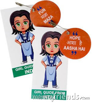 India International Friendship Swap Kit: Learn Hindi. Superhero Serafina wears a Girl Guide uniform from India for these World Thinking Day* crafts. Learn 30 different Hindi words while you make your crafts for swapping. No scissors or glue needed. Kit makes 30. Our page India | Ideas for Thinking Day* has more ideas for costumes, free printables, crafts, patches and more. via @gsleader411