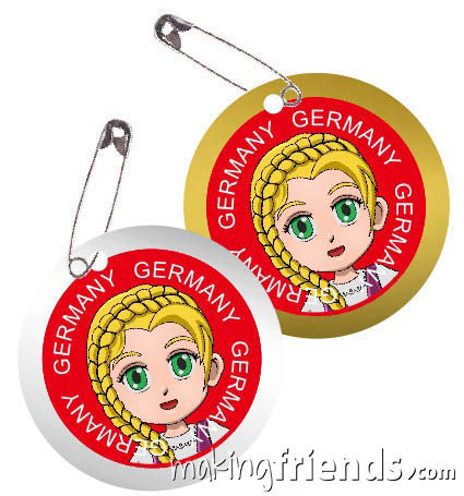 Germany International Costume Friendship Swap Kit. Superhero Willow wears traditional clothing from Germany for international crafts for swapping. Fun and economical. No scissors or glue needed. Quick and easy to make. Kit makes 24. More fun ideas for your Germany booth on our page Germany | Ideas for Thinking Day* including patches, costumes, recipes and more. via @gsleader411