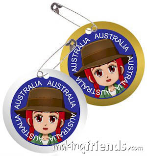 Australia International Costume Friendship Swap Kit. Superhero Freedom wears outback clothes from Australia for these swaps. Economical to make. No scissors or glue needed. Quick and easy too. Perfect for your Girl Scout World Thinking Day or International event. Kit makes 24 swaps and is available at MakingFriends®.com. Find a information about Australia as well as patches, crafts, passports and more for your international event on our page Australia   Ideas for Thinking Day*. via @gsleader411
