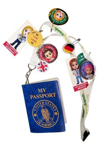 Girl Scout World Thinking Day Passport with Lanyard