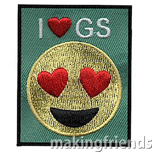 Celebrate your love of Girl Scouts with these adorable emoji I love GS fun patches! $.69 each Free Shipping available #makingfriends #girlscouts #gspatches #girlscoutpatches #funpatches #emojis via @gsleader411