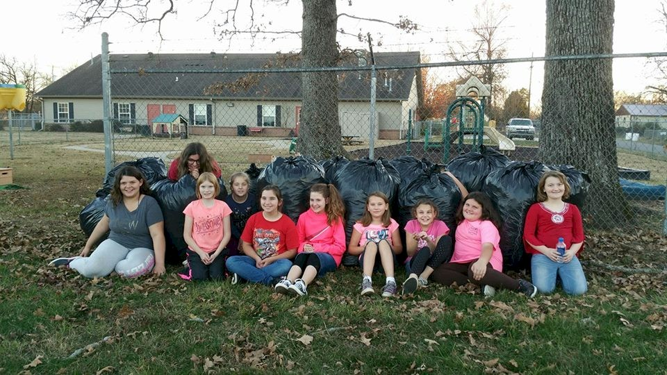 Girl Scout Leaf Raking