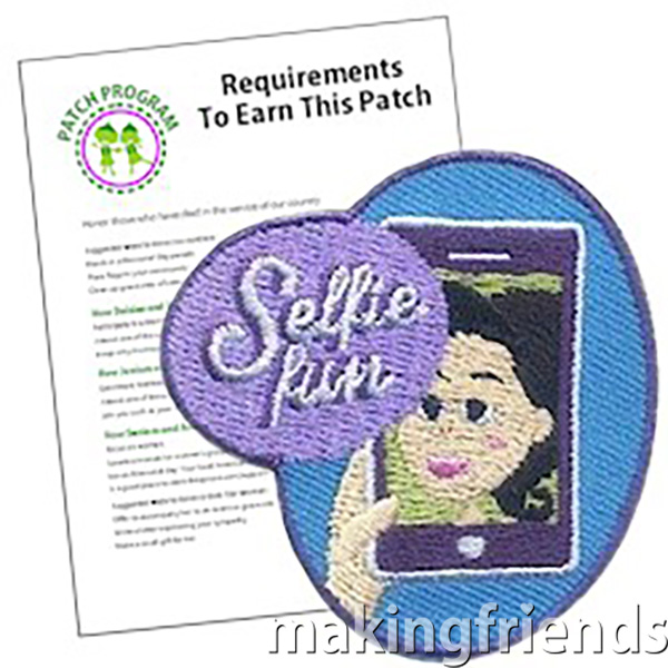 Selfie Patch Program® from MakingFriends®.com. Planning a selfie scavenger hunt for your troop? Our free printable challenge worksheet has fun activities girls of every age! The selfie patch makes a great addition to their vests. #makingfriends #mf #scoutingfromhome #scoutpatches #girlscouts #scouts via @gsleader411