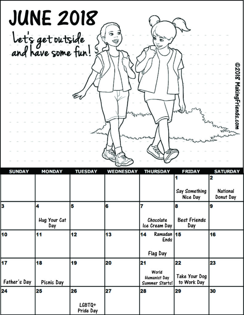 June Calendar Girl Read : Printable calendars makingfriendsmakingfriends