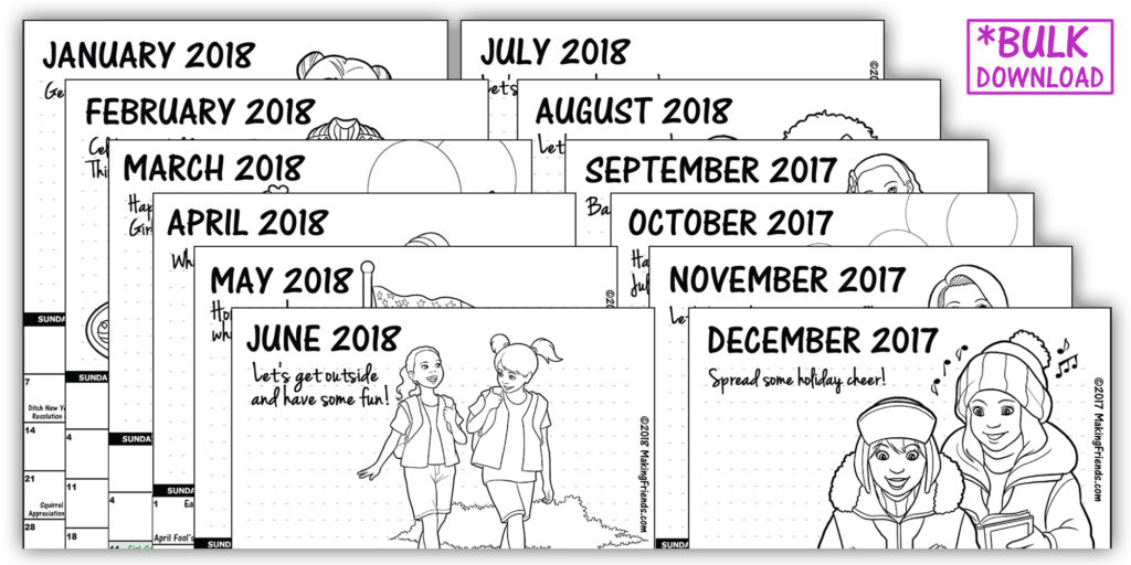 Printable Calendars  Makingfriends