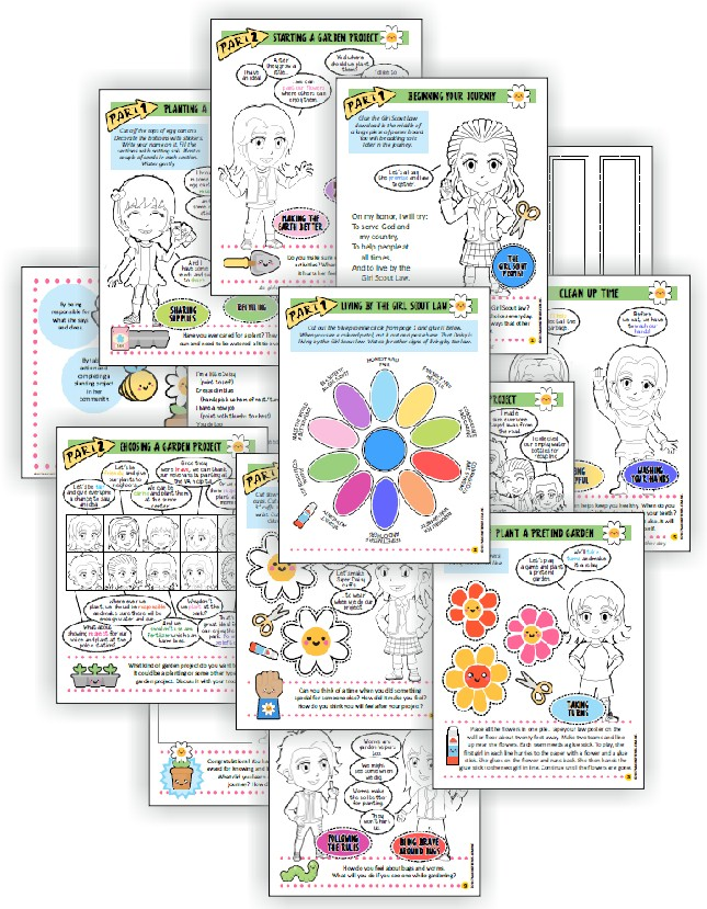 "Superhero Flower Garden Adventure-in-a-Day Download. Complete this fourteen-page comic download from MakingFriends®.com and do a garden project and your girls have earned their ""Welcome to the Daisy Flower Garden"" JOURNEY*. via @gsleader411"
