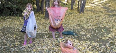 Raking Leaves Community Service Project