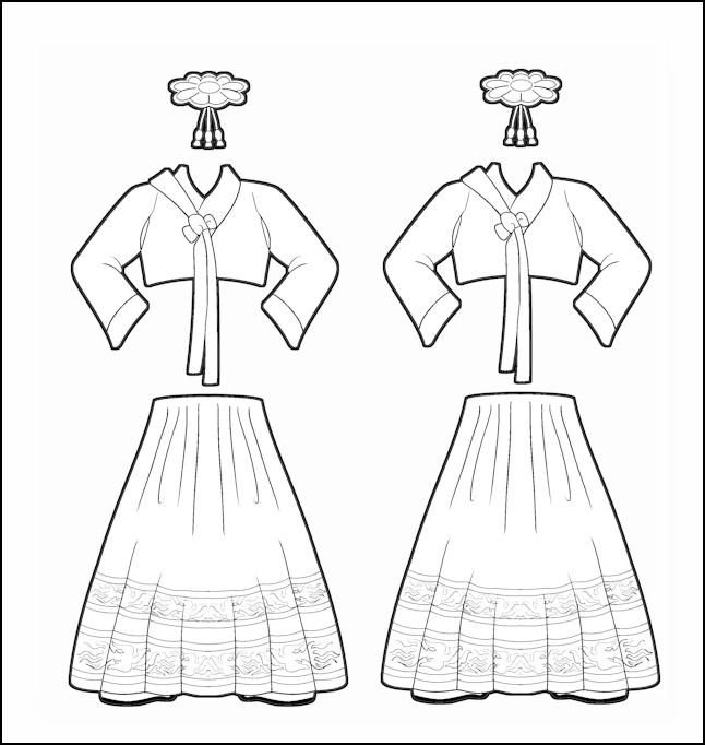 World Thinking Day Traditional South Korea Clothing Outline