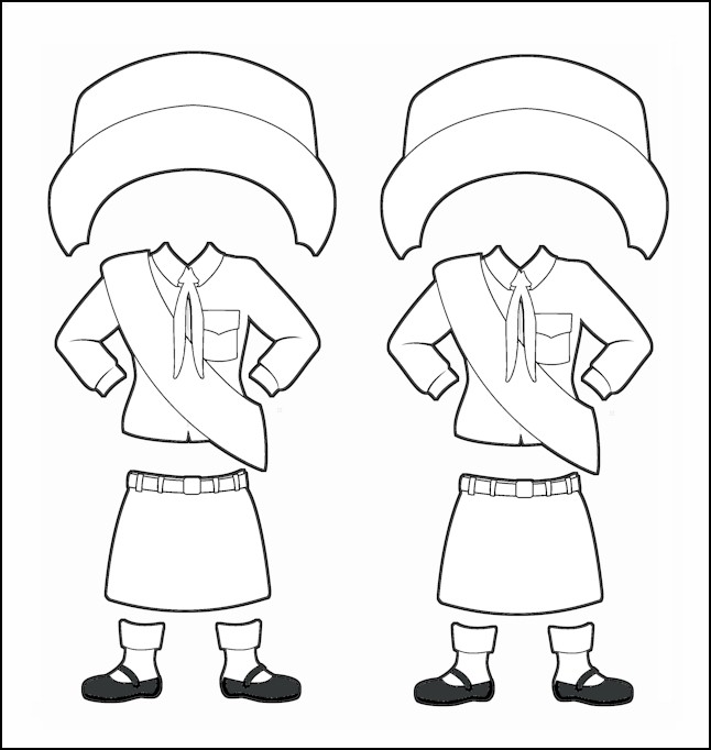 South Korea Girl Guide Uniform for Thinking Day Outline