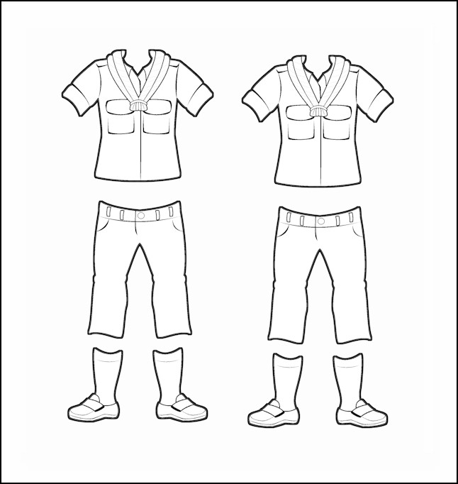 Spain Girl Guide Uniform for Thinking Day Outline