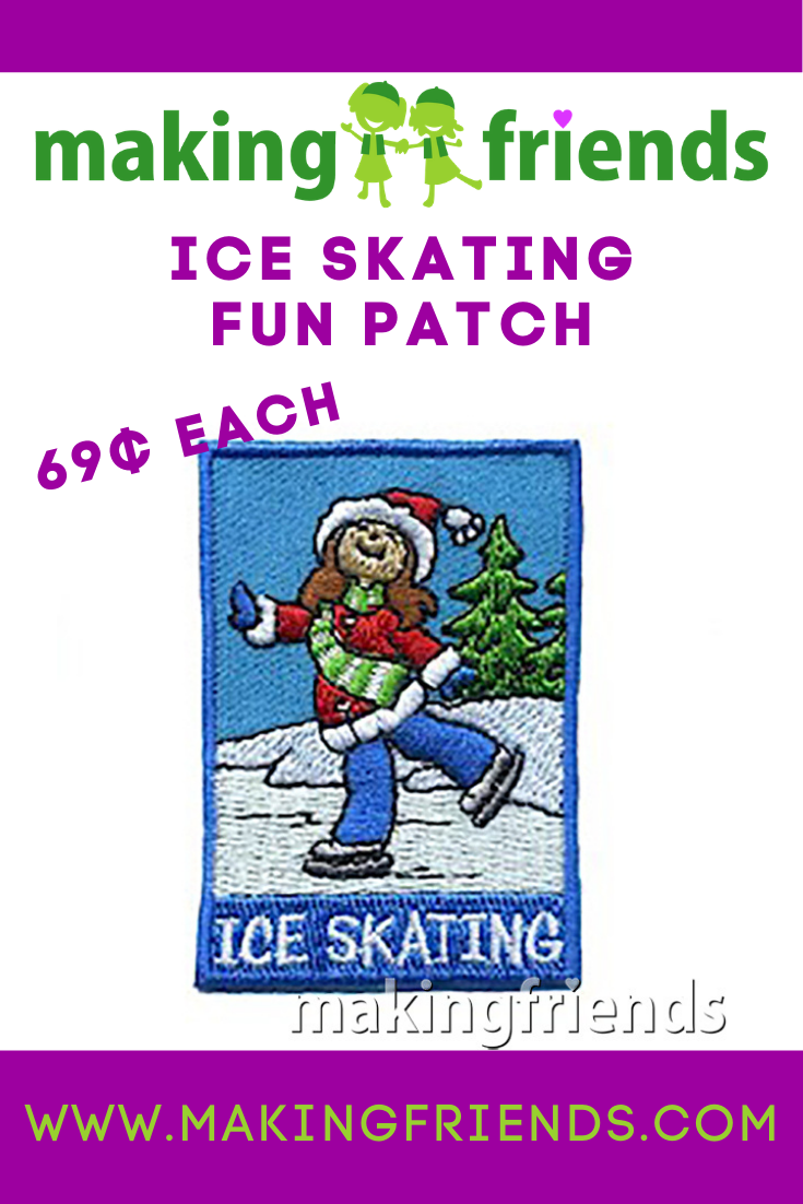Ice skating is a fun troop or service unit event! Don't forget your patch for only $.69 each with free shipping available! #makingfriends #iceskating #iceskatingfunpatch #girlscoutpatches #skatingfun #winter #icefun #snow #snowmuchfun via @gsleader411