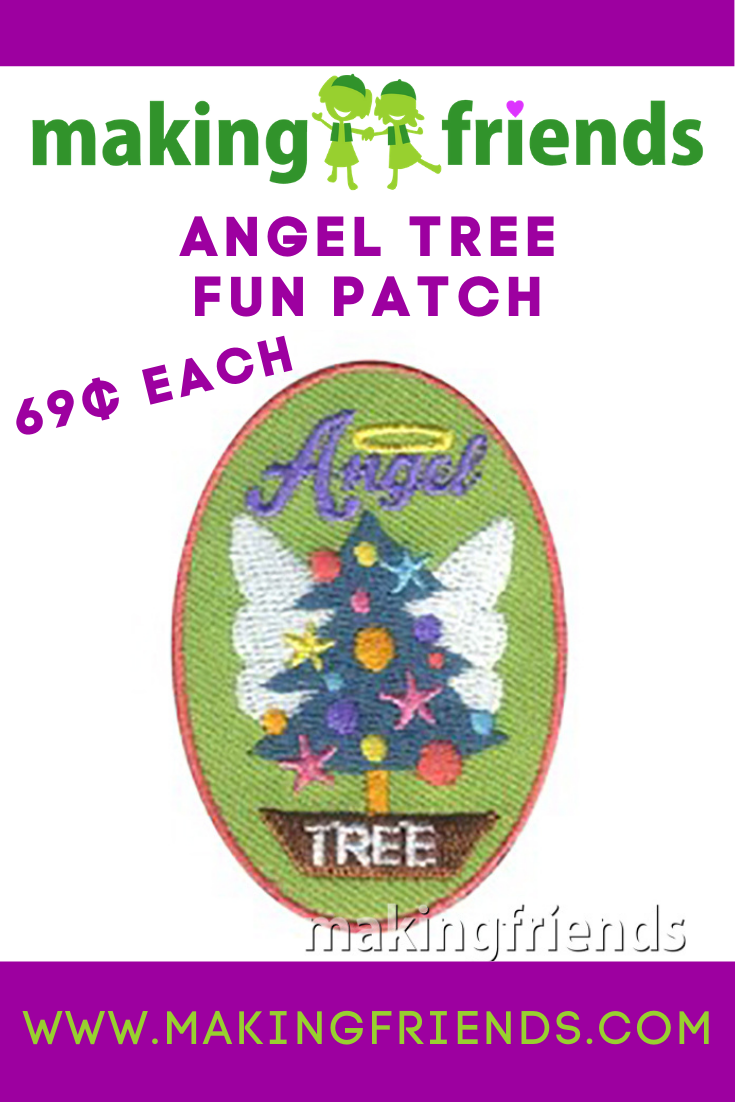 Angel trees and giving trees are a great community service activity for your troop. The fun patch is only $.69 each, free shipping available! #makingfriends #angeltree #christmasangel #angeltreepatch #communityservice #funpatch #girlscoutspatch #gsfunpatch #giveback via @gsleader411