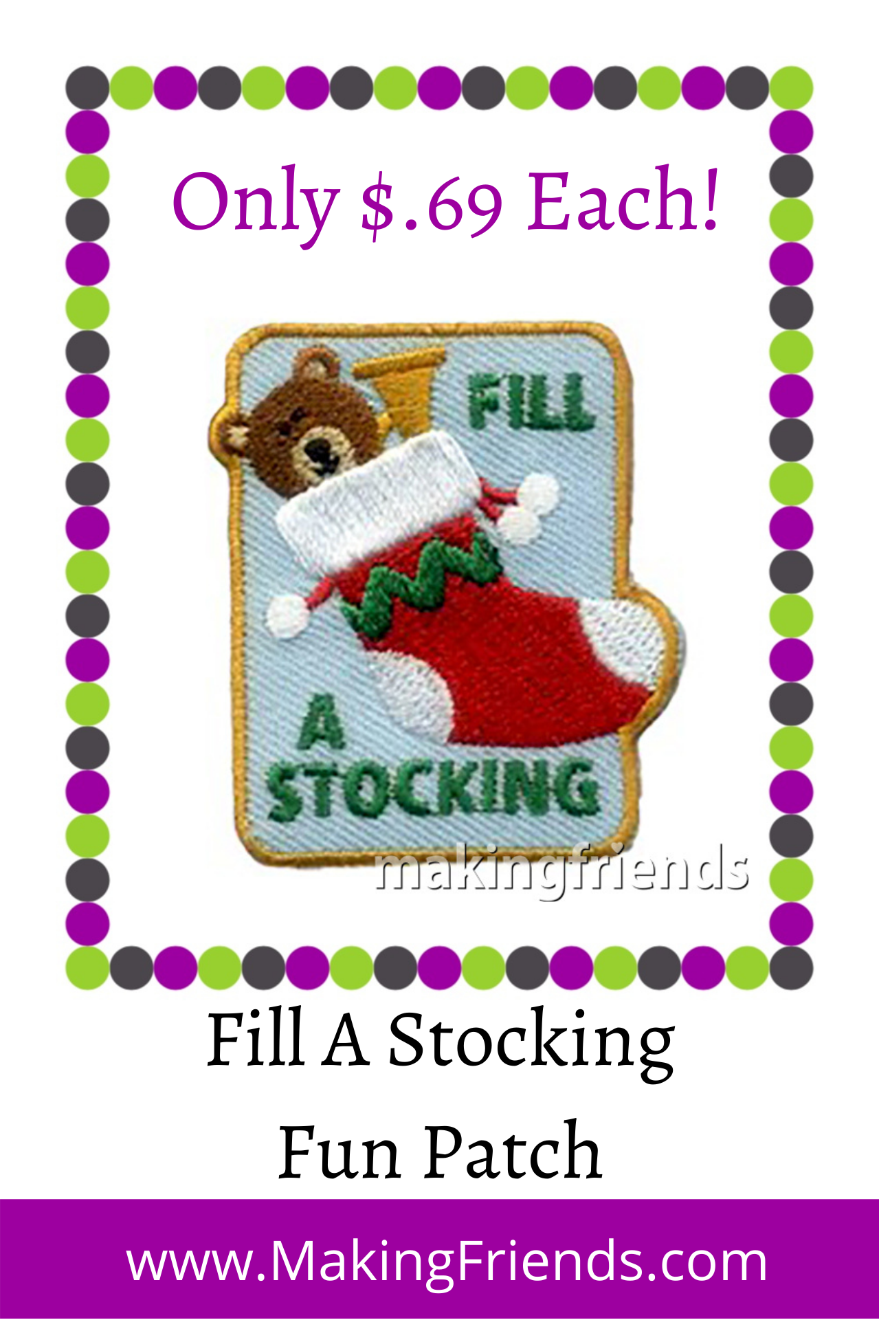Your girls can fill stockings to donate to a nursing home, hospital, shelter, or veterans home. $.69 each free shipping available #makingfriends #fillastocking #communityservice #giveback #veterans #stockings #christmasstockings #donatestockings via @gsleader411