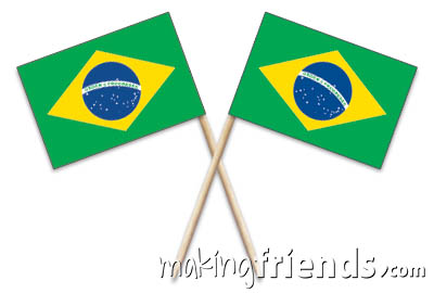 """Brazil Toothpick Flags. 100 to the box.2.5"""". Designs are on both sides of the flag. Perfect for your World Thinking Day* event this year! Can be used for crafts for swapping, give-a-ways, decorations and more! Find information about Brazil as well as patches, friendship swap kits, crafts, passports and more for your international event on our page Brazil