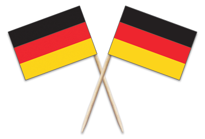 """Germany Toothpick Flags. 100 to the box.2.5"""".Designs are on both sides of the flag. Perfect for your World Thinking Day* event this year! Can be used for crafts for swapping, give-a-ways, decorations and more! More fun ideas for your Germany booth on our page Germany 