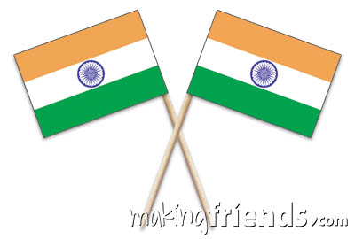 """India Toothpick Flags. 100 to the box.2.5"""".Designs are on both sides of the flag. Perfect for your World Thinking Day* event this year! Can be used for crafts for swapping, give-a-ways, decorations and more! Our page India 