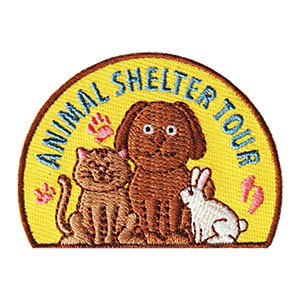Animal Shelter Tour Patch. This adorable patch from MakingFriends®.com is a great reminder of your visit to your local animal shelter. Thank the shelter for taking your scouts on a tour of their facility by baking dog treats to bring along. This dog treat recipe from FreeKidsCrafts.com is easy to follow and a cute free printable recipe card can be given to the facility so they can see how your troop prepared the treats. via @gsleader411