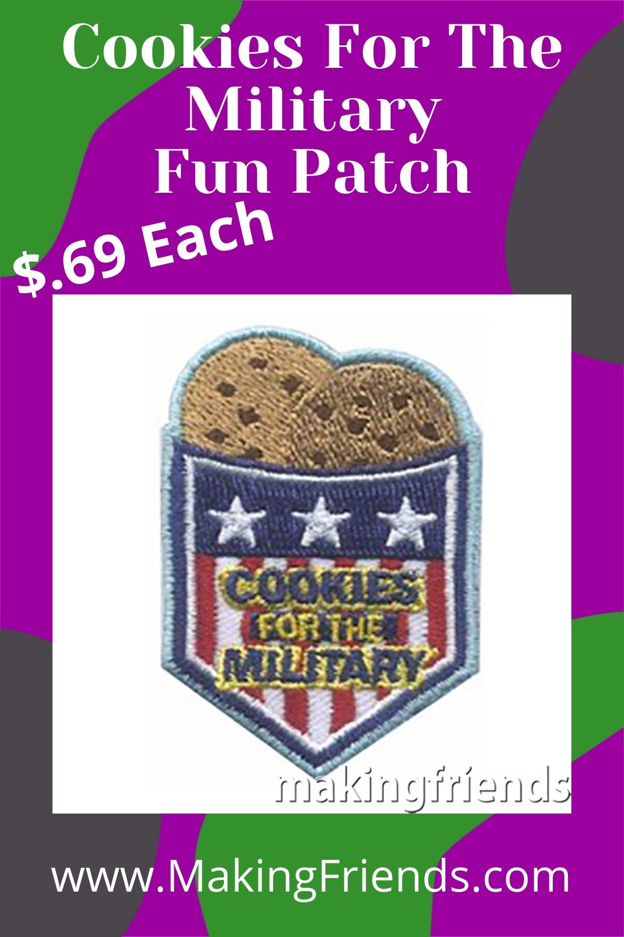 Help our deployed Military troops have a bit of home by collecting donated cookie boxes to send them! This patch is only $.69 each with free shipping available! #makingfriends #military #deployed #cookiesforthemilitary #gscookies #girlscouts #girlscoutcookies #communityservice via @gsleader411