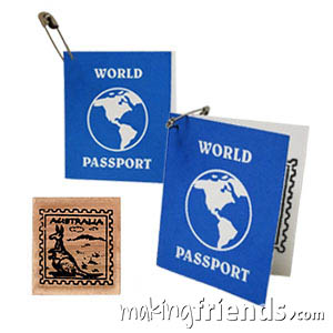 Australia Mini Passport Friendship Swap Kit. These passport swaps are sure to be a hit at your World Thinking Day or International booth, especially when the girls get their passport stamped! Kit makes 100 SWAPs! Available at MakingFriends®.com. Find a information about Australia as well as patches, crafts, passports and more for your international event on our page Australia | Ideas for Thinking Day*. via @gsleader411