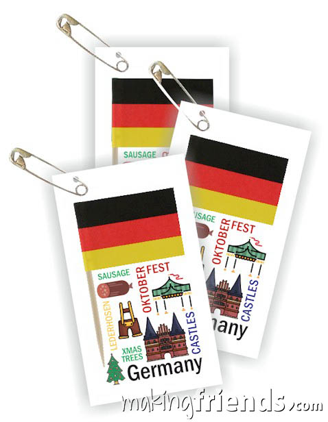 Germany Toothpick Flag Friendship Swap Kit. If your girls chose Germany for their World Thinking Day* or International event this craft for swapping is a great value. It's easy to make, educational and looks expensive. Kit makes 100! More fun ideas for your Germany booth on our page Germany | Ideas for Thinking Day* including patches, costumes, recipes and more. via @gsleader411