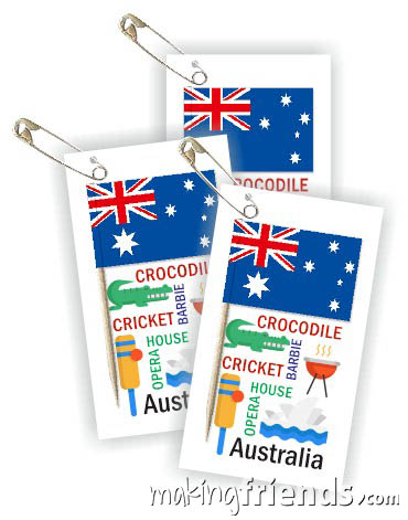 Australia Toothpick Flag Friendship Swap Kit. If your girls chose Australia for World Thinking Day this swap is a great value. It's easy to make, educational and looks expensive. Kit makes 100 swaps and is available at MakingFriends®.com. Find a information about Australia as well as patches, crafts, passports and more for your international event on our page Australia | Ideas for Thinking Day*. via @gsleader411