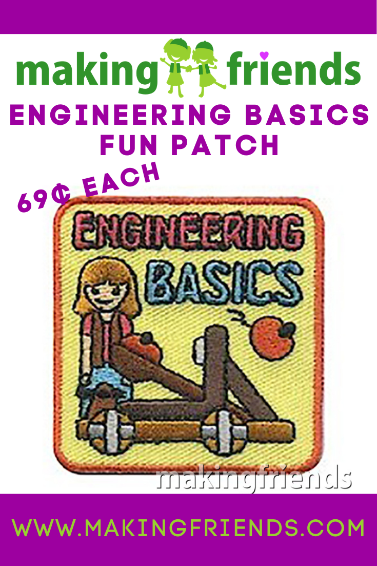 Girls will have fun learning engineering basics by building and testing catapults. After they've explored the basics give your girls this patch from MakingFriends®.com to remember the fun they had with engineering. #makingfriends #engineering #funpatch #gspatch #girlscouts via @gsleader411