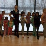 Brownie Girl Scout learning ballet,