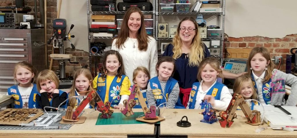 Daisy Girl Scouts learning about robotics.