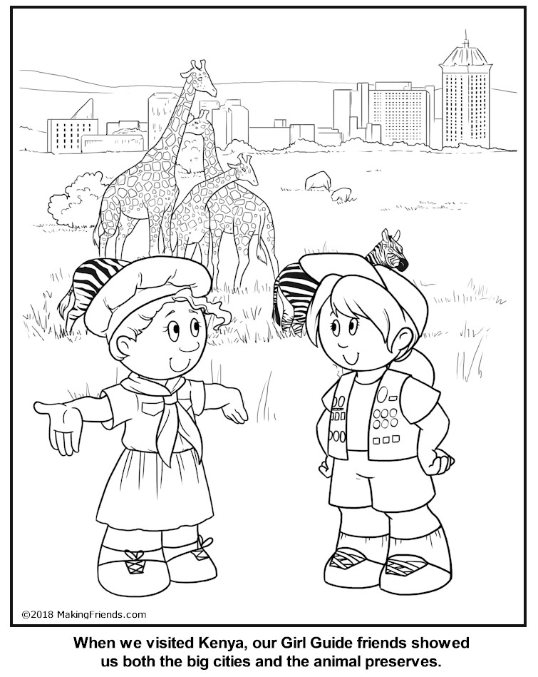 Kenyan Girl Guide Coloring Page