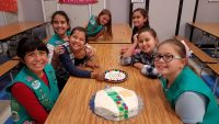 """Our multi-level (D/J/C) Troop 7011 from El Centro, Ca made """"birthday-in-a-bag"""" pouches that were delivered to a local receiving home for displaced/foster children. They included handmade birthday cards with inspirational quotes and heartfelt notes from """"your Girl Scout friend."""" They also talked about Juliette Low and what they thought the first GS meeting was probably like, discussed the different ways the GS Law and promise can be interpreted and played a game that encouraged communication, exercise and teamwork. They wrapped up the meeting with a special treat; birthday cake!"""
