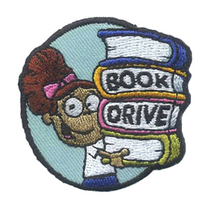 Book Drive Patch. Book drives are a great community service for your scouts to provide to your local shelter, community center, hospital and more. The Book Drive patch from MakingFriends®.com will remind your girls of their hard work. via @gsleader411