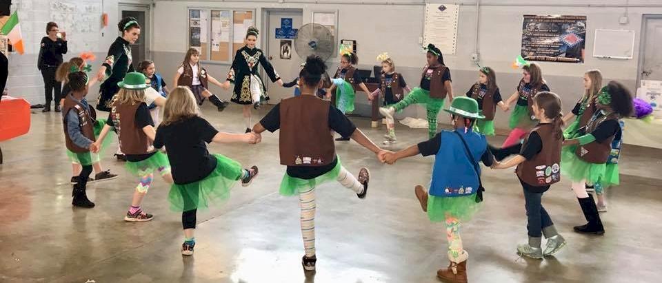 Brownie Girl Scouts Irish Step Dancing.