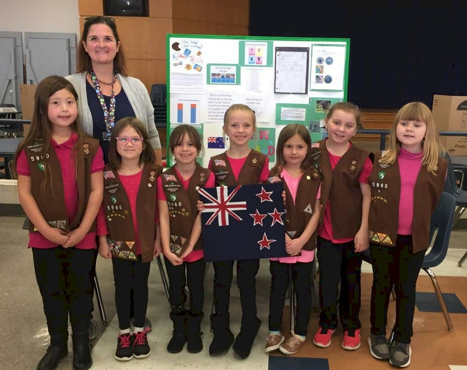 Brownie Girl Scouts representing New Zealand for World Thinking Day.