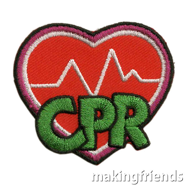 CPR Patch. Learn how your scouts can earn this patch from home while social distancing.If your scouts are ready go beyond basic first aid skills, they will want to earn this CPR patch from MakingFriends®.com. Many girls as young as 9 years old can learn the basics of CPR even if they do not yet have the physical strength to perform CPR. #makingfriends # mf #scoutingfromhome #scoutpatches #girlscouts #scouts #juliettescouts via @gsleader411