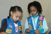 Daisy Girl Scouts at our engineering workshop earning the Roller Coaster Design Challenge badge.